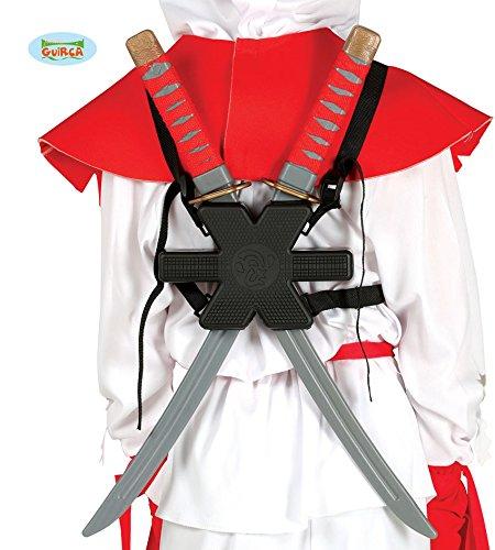 Guirca Samurai Schwerter Paar mit Halterung Rücken Karneval Fasching Party Ninja ()