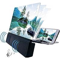 """EZSMART 12"""" luz Anti-Azul Lupa de Pantalla de teléfono, 3D HD Ajustable ángulo teléfono proyector Amplificador, Amplificador de Pantalla de teléfono con Soporte Plegable para películas, Videos Juegos"""