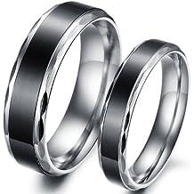 JewelryWe Par de Anillos de Alianzas Acero Inoxidable de Parejas, Anillos de compromiso Sencillos diseño Negro Plateado, Retro Vintage para San Valentín