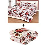 Acmura 4 Piece Comforter Set - 1 Comforter + 1 Double Bed Sheet + 2 Pillow Covers (White & Red Floral)