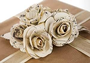 Bouquet di rose di carta da musica naturale riciclata realizzato a mano, XL (7.5cm x 7.5cm)