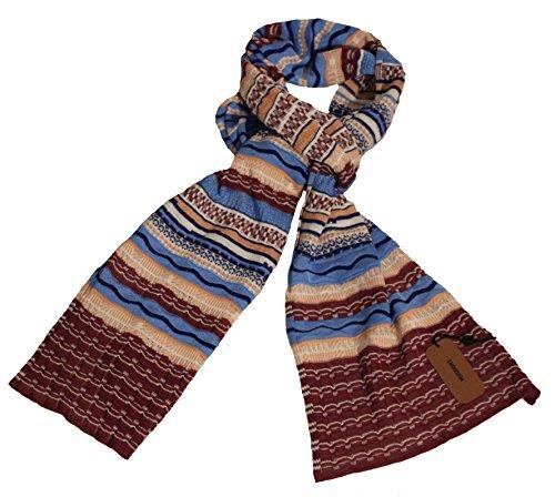 Missoni Schal, rotbraun/blau, Zackenmuster, 30x 180 cm (Accessoires Schals Missoni Damen)