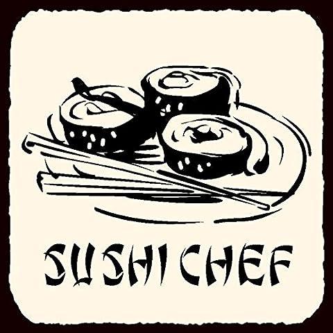 Sushi Chef ristorante giapponese arte vintage metallo latta 30,5x 30,5cm