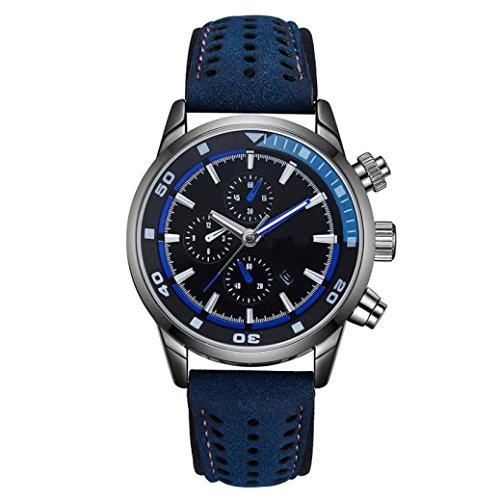 Valentinstag Uhren Dellin DISU Fashion Casual Herren Geschäfts Retro DesignQuartz Runde Band Uhr (Blau)