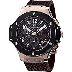 Man, quartz watch, fashion, outdoor, multi-function, 6 pointer, calendar, silicone, w0522