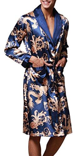 FLYCHEN Herren satin Bademäntel Paisley Pattern Kimono Morgenmantel 7 Farbe Saphirblau-1