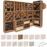 Weinregal / Flaschenregal System CAVEPRO, Regalmodul mit T-Einsatz, Holz Melamin beschichtet, Birnbaum