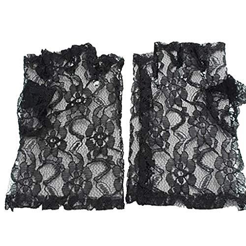 Madonna Kostüm 1980's - LQQSTORE Handschuhe Damen Black Lace Fingerlos Handschuhe Madonna 1980's Fancy Dress Schwarz