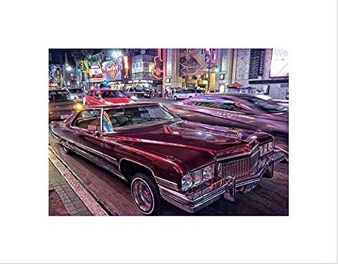 CLASSIC CAR STREET VINTAGE CADILLAC NIGHT CITYSCAPE HARDROCK ART PRINT B12X8749