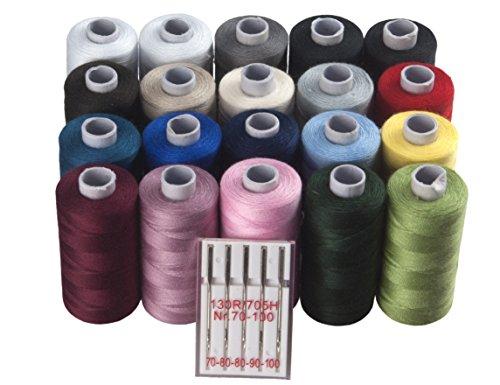 Juego de costura: 20rollos hilo–25piezas + 5universal Máquina de coser agujas