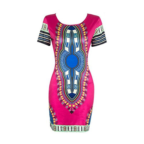 Bluestercool Frauen traditionelle afrikanische Print Dashiki figurbetont Sexy Kurzarm Kleid/Multicolor (XL, Hot Pink)