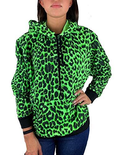 Worldclassca Damen Kapuzenpullover Leopard Leo Muster Sweatshirt Sport Hoodie Langarmshirt Oberteil Pulli Fitness NEON PINK Blogger NEU (36/38 - S/M, Grün-Leo)