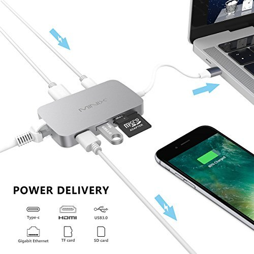 MINIX NEO C USB-C Hub with Type C Charging Multiport Adapter, HDMI Port, 1000Mbps Gigabit LAN, SD Card Readers, 2 USB 3.0 Port for Type C Devices such as MacBook Pro, HP Specter 13, XiaoMi Air 13, Lenovo Yoga 900 (Gray)