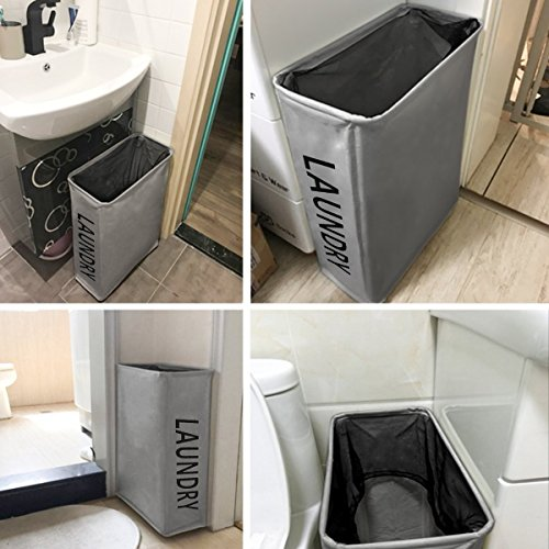 WOWLIVE Slim Laundry Basket With Wheels Collapsible Rolling Thin Laundry Hamper Foldable Rectangular Waterproof Standing Handy Home Laundry Bin