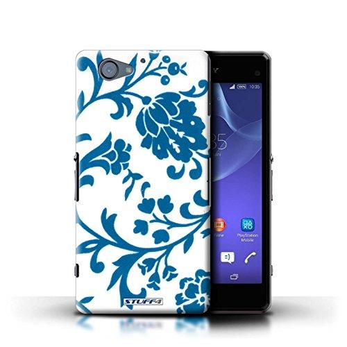 Kobalt® Imprimé Etui / Coque pour Sony Xperia A2 / Fleurs Rouge conception / Série Motif floral Fleurs Bleue