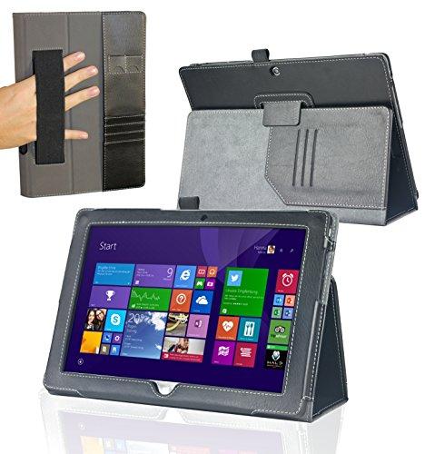 Navitech schwarzes bycast Leder Case / Cover mit Stylus Halter und Handschlaufe für das Odys Wintab 10