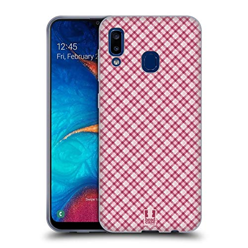 Head Case Designs Hot Pink Plaid - Muster Kollektion Soft Gel Huelle kompatibel mit Samsung Galaxy A20 / A30 (2019) Hot Pink Plaid Design