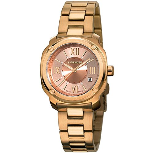 WENGER WOMEN'S 34MM GOLD PLATED BRACELET STEEL CASE QUARTZ WATCH 01.1121.112