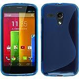 PhoneNatic Case für Motorola Moto G Hülle Silikon blau, S-Style + 2 Schutzfolien