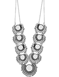 Andaaz Designer Oxidized Silver Metal Tribal Necklace For Women
