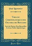 Telecharger Livres Tableau Chronologique Des Oeuvres de Ronsard Suivi de Poesies Non Recueillies Et D Une Table Alphabetique Classic Reprint (PDF,EPUB,MOBI) gratuits en Francaise
