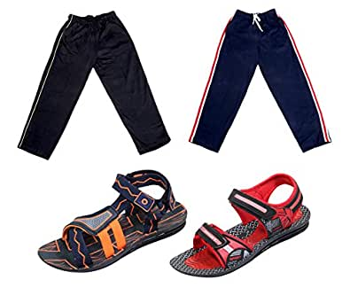 IndiWeaves Boys Combo Pack(Pack of 2 Boys Sandal and 2 Boys Cotton Lower/Track Pants)-RED/BLACK::BROWN/WHITE::Black-Size-1