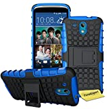 HTC Desire 526G Handy Tasche, FoneExpert® Hülle Abdeckung Cover schutzhülle Tough Strong Rugged Shock Proof Heavy Duty Case für HTC Desire 526G + Displayschutzfolie (Blau)