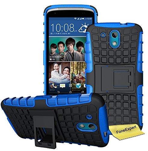 HTC Desire 526G Handy Tasche, FoneExpert® Hülle Abdeckung Cover schutzhülle Tough Strong Rugged Shock Proof Heavy Duty Case für HTC Desire 526G + Displayschutzfolie (Blau)