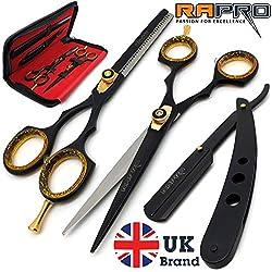 RAPRO RP-SS-01 Lot de ciseaux de coiffure professionnels comprenant un rasoir de barbier, un ciseau à effiler élégant, un rasoir de gorge à bord droit avec peigne et étui de ciseaux