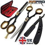 RAPRO RP-SS-01 - Set di forbici professionali da barbiere e parrucchiere, include forbici da barbiere, forbici da sfoltire, rasoio con pettine per capelli e custodia per forbici
