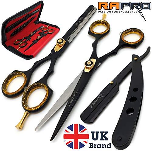 RAPRO RP-SS-01 Professional Barber Haarscheren Set inkl. Barber Scheren, Stilvolle Effilierschere, gerade Rasierklinge Rasiermesser mit Haar mit Kamm und Schere Fall