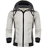 WEIJIGUOJI Men's Hoodies Casual Double Zipper Sweatshirts Slim Fit Hooded Jacket