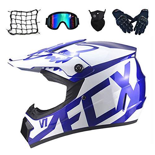 Chinese dragonMotorrad Cross Helm Erwachsene Kinder Motocross Helm Set (Schutzbrille Handschuhe Maske Helm Net, 5 Stück) Vollgesichts MTB Off Road Motorrad Sturzhelm, 2 Arten (S, M, L, XL) -