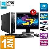 HP PC Compaq Pro 6300 SFF I7-3770 16Go 240Go SSD Graveur DVD WiFi W7 Ecran 17'