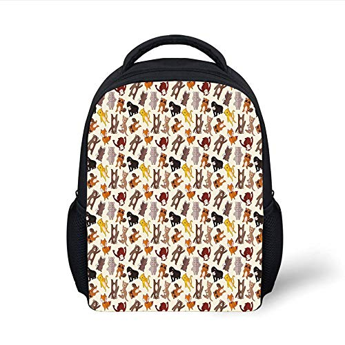 Kids School Backpack Cartoon Animal,Collection of Friendly African Jungle Animals Happy Mammals Life in Forest Decorative,Multicolor Plain Bookbag Travel Daypack -