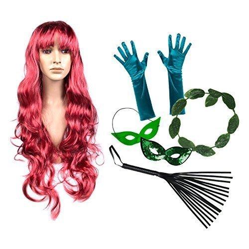 Damen Damen Poisen Ivy Luxus Kostüm Satz (Perücke, Handschuhe, Halo, Maske, Peitsche)