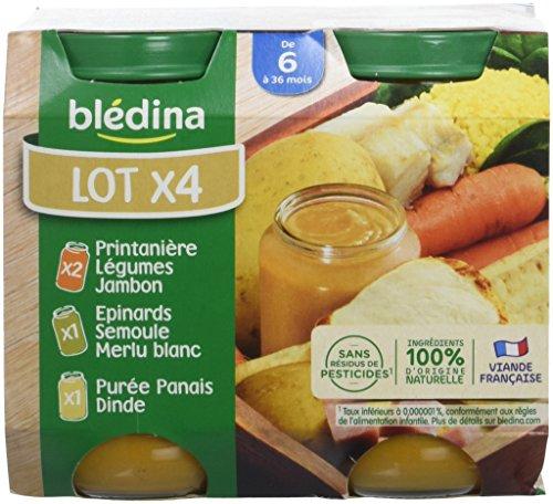 Blédina Assortiment 2 Printanière de Légumes Jambon/1 Epinards Semoule Merlu/1 Purée Panais Dindedès 6 mois 4 x 200 g - Pack de 6