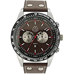 Mabz London Gents Tachymeter Brown Leather Strap and Champagne Big Dial Watch With Date (Silver Case)