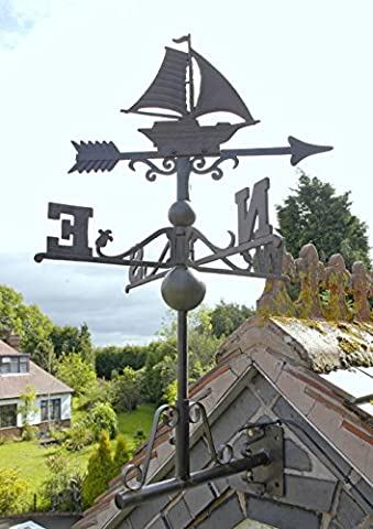 Rustic Cast Iron Sail Boat Weathervane - Includes Multi-Position Mounting Bracket - Various Sizes Available