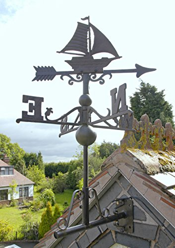 Rustic Cast Iron Sail Boat Weathervane - INCLUDES FREE INSTALLATION KIT - Various Sizes (Small)