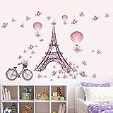 Romantische Eiffelturm von Paris Wandaufkleber mit Rosa Schmetterlinge, Heißluftballon & Fahrrad Aufkleber Dekorative Abnehmbare Wandsticker DIY Vinyl Wandtattoos Wohnzimmer, Schlafzimmer