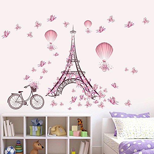 Romantische Eiffelturm von Paris Wandaufkleber mit Rosa Schmetterlinge, Heißluftballon & Fahrrad Aufkleber Dekorative Abnehmbare Wandsticker DIY Vinyl Wandtattoos Wohnzimmer, Schlafzimmer - Paris-wand-aufkleber