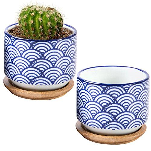 7,6cm japanischen Stil, Wave Keramik Sukkulente Übertopf Töpfe mit Bambus Abtropfschale, Set 2, weiß & blau - Asiatische Tischplatte