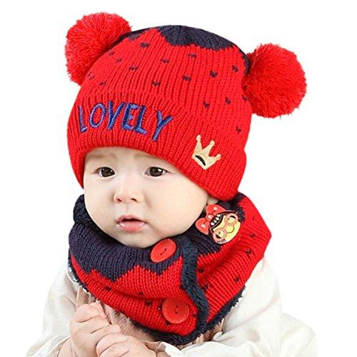 Clode® Baby Mütze Baby Jungen Mädchen Kleinkinder Buchstabe Kronen Hut + Schal 2Pcs Kind Schal Hüte Mützen (Rot)