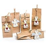5 Stück kleine Geschenk-Verpackung ENGEL rot gold silber weiß + 5 Papiertüten Bodenbeutel braun natur Geschenke verpacken Weihnachten Geburtstag Kommunion Taufe Mitgebsel Gastgeschenk give-away