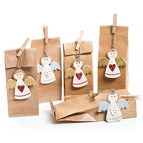 5 angioletti per addobbi, colore: rosso/oro/argento/bianco + 5 sacchetti di carta, colore: marrone naturale, pensierino per natale, compleanno, comunione, battesimo