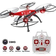 Syma X8HG Nuevo producto (actualización de la popular Syma X8G) 2,4 6-Axis Gyro con la cámara de 8MP RC Quadcopter Drone incluye una función efectiva de mantenimiento de altitud para volar muy fácil para los principiantes (Color: Rojo) (x8HG)