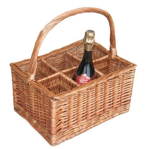 Wicker 6 Bottle Carrier Basket / Buff / Washed / Double Steamed / Wine / Milk (Double Steamed Willow Wicker)