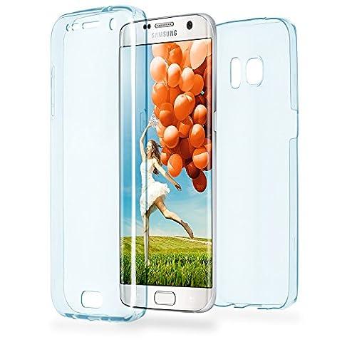Double Case pour Samsung Galaxy S7 Edge | Couvre étui en silicone transparent entier | Thin 360° complet cas smartphone en OneFlow | Couverture arrière en Bleu