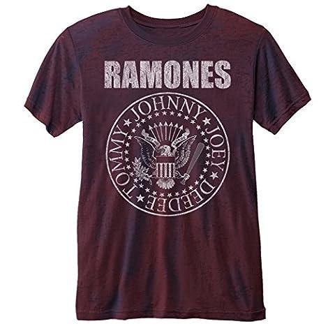 Official T Shirt RAMONES Vintage Distressed Seal Logo RED Burnout L